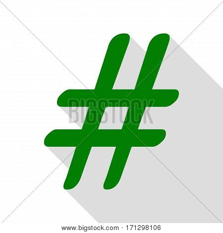 Hashtag sign illustration. Green icon with flat style shadow path.