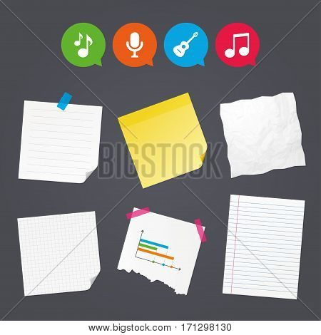 Business paper banners with notes. Music icons. Microphone karaoke symbol. Music notes and acoustic guitar signs. Sticky colorful tape. Speech bubbles with icons. Vector