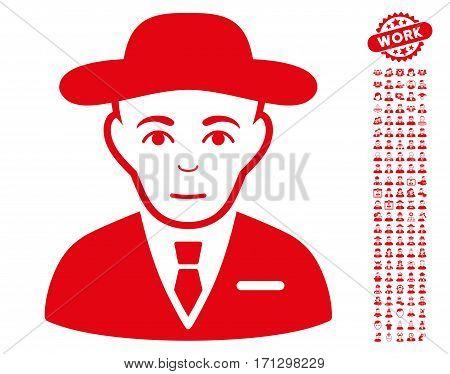 Secret Service Agent pictograph with bonus avatar icon set. Vector illustration style is flat iconic red symbols on white background.