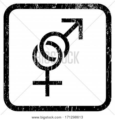 Sex Symbol rubber watermark. Vector pictogram symbol inside rounded rectangular frame with grunge design and unclean texture. Stamp seal illustration. Unclean black ink emblem on a white background.