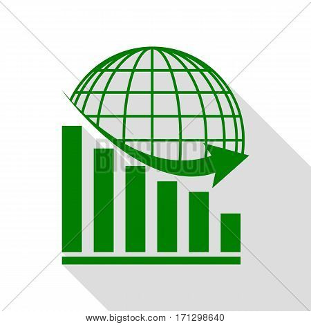 Declining graph with earth. Green icon with flat style shadow path.
