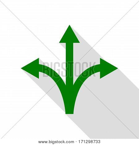 Three-way direction arrow sign. Green icon with flat style shadow path.