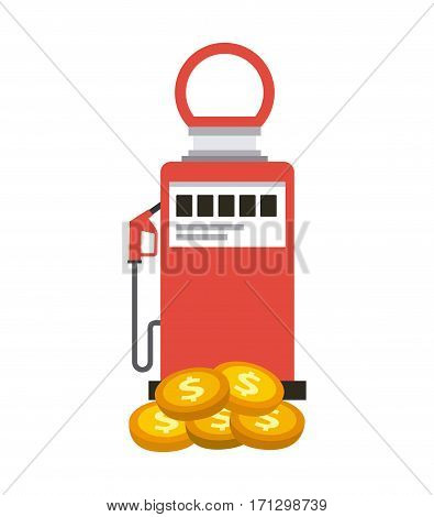 gasoline pump and gold coins over white background. oil industry concept. colorful design. vector illustration
