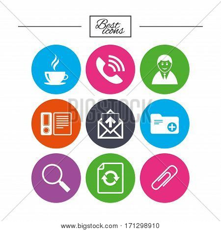 Office, documents and business icons. Coffee, phone call and businessman signs. Safety pin, magnifier and mail symbols. Classic simple flat icons. Vector
