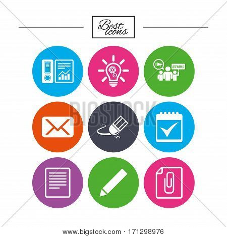 Office, documents and business icons. Accounting, strike and calendar signs. Mail, ideas and statistics symbols. Classic simple flat icons. Vector