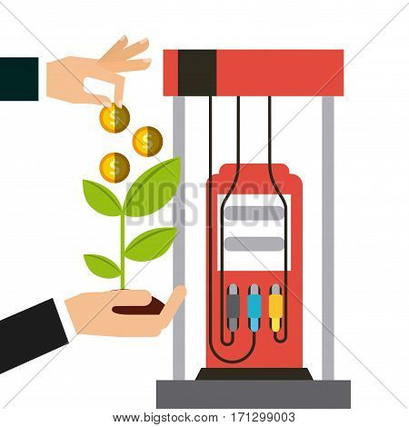 gasoline pump and hand holding a plant and coins over white background. oil industry concept. colorful design. vector illustration