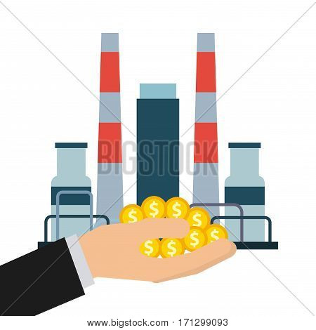 oil industry factory and hand holding golden coins over white background. colorful design. vector illustration