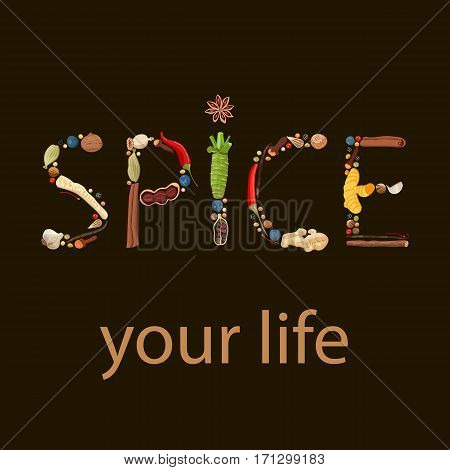 Spice your life. humorous quote. Text made of spices. Black background. Positive motivator. Ginger chili pepper garlic nutmeg coriander rosemary anise etc. For logo design poster prints