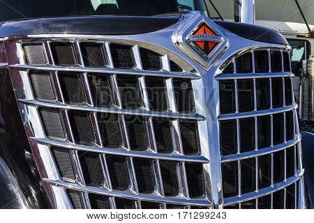 Indianapolis - Circa February 2017: Front End and Grille of a Navistar International Semi Tractor Trailer Truck I