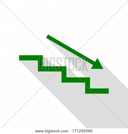 Stair down with arrow. Green icon with flat style shadow path.