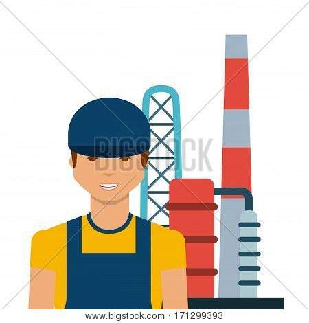 man and oil industry factory over white background. colorful design. vector illustration