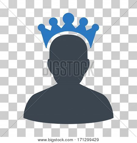 King icon. Vector illustration style is flat iconic bicolor symbol smooth blue colors transparent background. Designed for web and software interfaces.