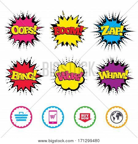 Comic Wow, Oops, Boom and Wham sound effects. Online shopping icons. Smartphone, shopping cart, buy now arrow and internet signs. WWW globe symbol. Zap speech bubbles in pop art. Vector