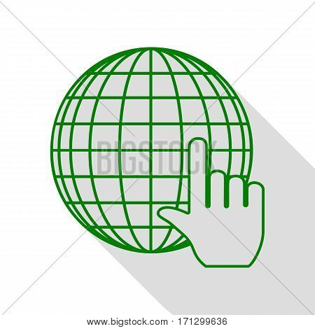 Earth Globe with cursor. Green icon with flat style shadow path.