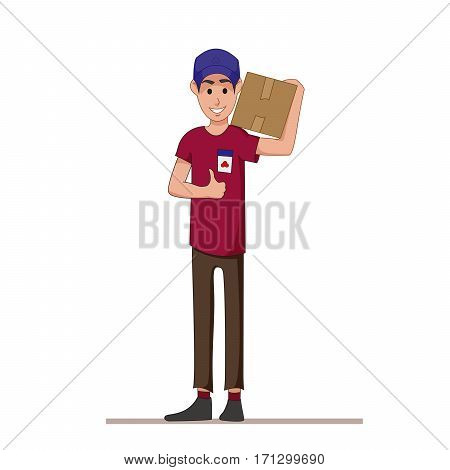 Courier with a box on his shoulders. Express delivery of parcels and goods. Postman. Flat character isolated on white background. Vector, illustration EPS10