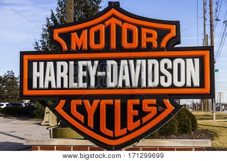 Indianapolis IN - Circa February 2017: Harley-Davidson Local Signage. Harley Davidson's Motorcycles are Known for Their Loyal Following VII