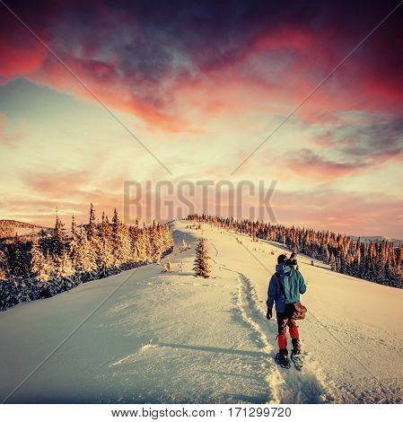 Fantastic winter landscape and protoptav tourist trail leading into the mountains. On the eve of the holiday. Carpathian, Ukraine, Europe.