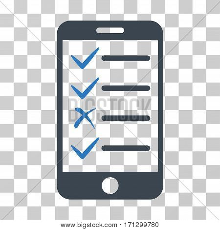 Mobile Tasks icon. Vector illustration style is flat iconic bicolor symbol smooth blue colors transparent background. Designed for web and software interfaces.