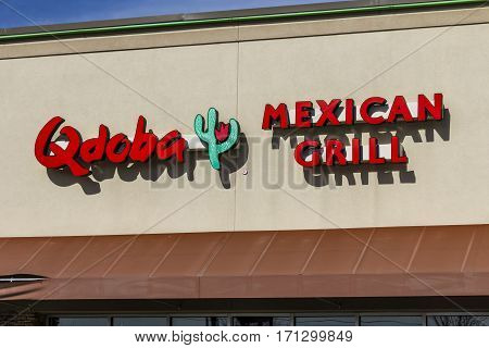 Indianapolis - Circa February 2017: Qdoba Mexican Grill Fast Casual Restaurant. Qdoba is a subsidiary of Jack in the Box I
