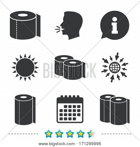 Toilet paper icons. Kitchen roll towel symbols. WC paper signs. Information, go to web and calendar icons. Sun and loud speak symbol. Vector
