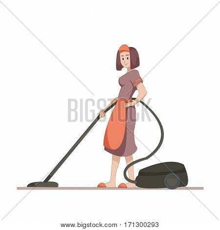 Housekeeper or housewife makes home cleaning with a vacuum cleaner. Flat character isolated on white background. Vector, illustration EPS10