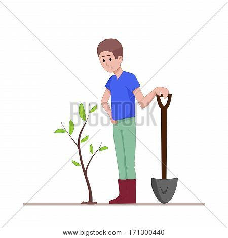 The guy with a shovel standing near the planted seedlings. Agricultural work. Flat character isolated on white background. Vector, illustration EPS10