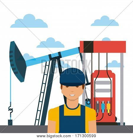 oil industry rig, gasoline pump and man cartoon icon over white background. colorful design. vector illustration