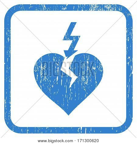 Break Heart rubber watermark. Vector pictogram symbol inside rounded rectangle with grunge design and dust texture. Stamp seal illustration. Unclean cobalt ink emblem on a white background.