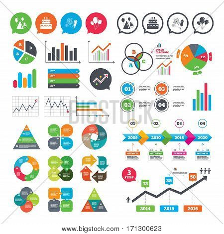 Business charts. Growth graph. Birthday party icons. Cake, balloon, hat and muffin signs. Fireworks with rocket symbol. Double decker with candle. Market report presentation. Vector