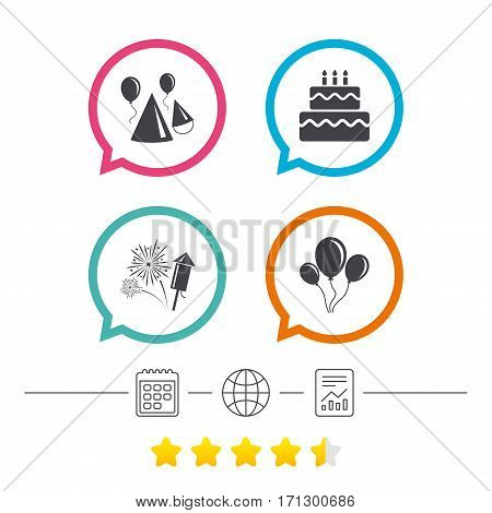 Birthday party icons. Cake, balloon, hat and muffin signs. Fireworks with rocket symbol. Double decker with candle. Calendar, internet globe and report linear icons. Star vote ranking. Vector