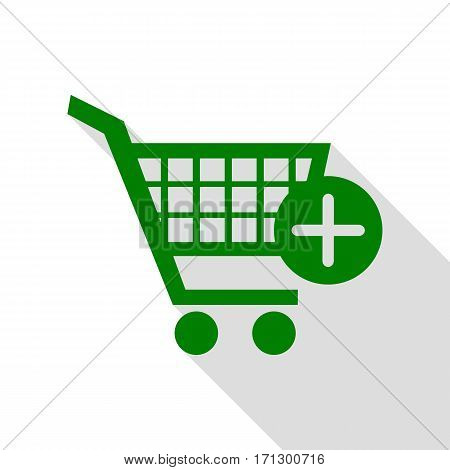 Shopping Cart with add Mark sign. Green icon with flat style shadow path.