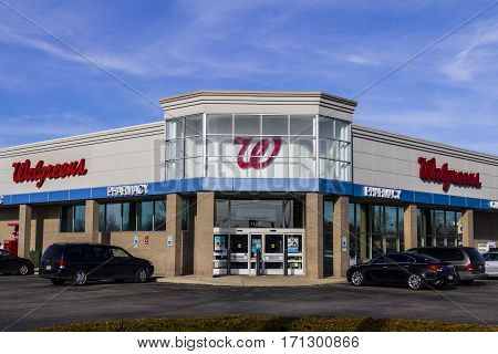 Indianapolis - Circa February 2017: Walgreens Retail Location. Walgreens is an American Pharmaceutical Company IX