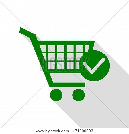Shopping Cart with Check Mark sign. Green icon with flat style shadow path.