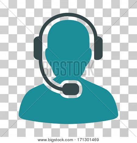Call Center Operator icon. Vector illustration style is flat iconic bicolor symbol soft blue colors transparent background. Designed for web and software interfaces.