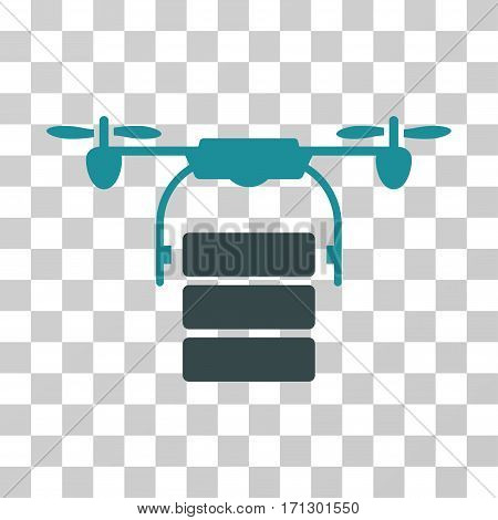 Cargo Drone icon. Vector illustration style is flat iconic bicolor symbol soft blue colors transparent background. Designed for web and software interfaces.