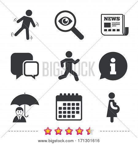 Businessman with umbrella icon. Human running symbol. Man love Woman or Lovers sign. Women Pregnancy. Life insurance. Newspaper, information and calendar icons. Investigate magnifier, chat symbol