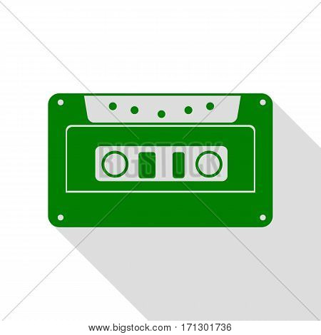 Cassette icon, audio tape sign. Green icon with flat style shadow path.