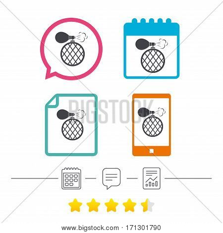 Perfume bottle sign icon. Glamour fragrance symbol. Calendar, chat speech bubble and report linear icons. Star vote ranking. Vector