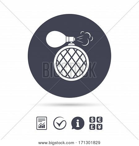 Perfume bottle sign icon. Glamour fragrance symbol. Report document, information and check tick icons. Currency exchange. Vector
