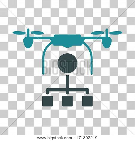 Drone Distribution icon. Vector illustration style is flat iconic bicolor symbol soft blue colors transparent background. Designed for web and software interfaces.