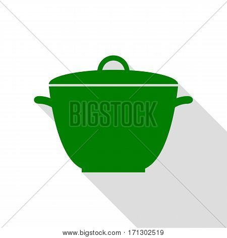 Saucepan simple sign. Green icon with flat style shadow path.