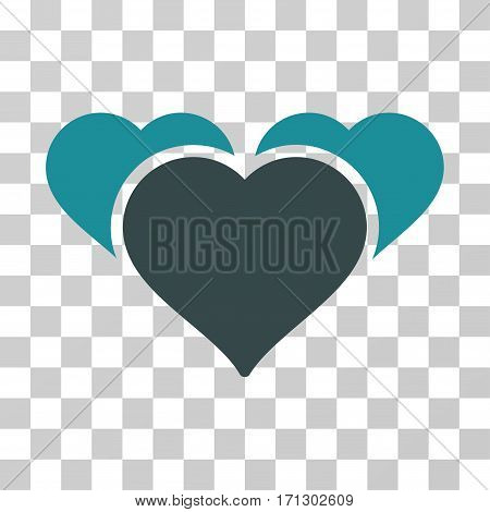Favourite Hearts icon. Vector illustration style is flat iconic bicolor symbol soft blue colors transparent background. Designed for web and software interfaces.