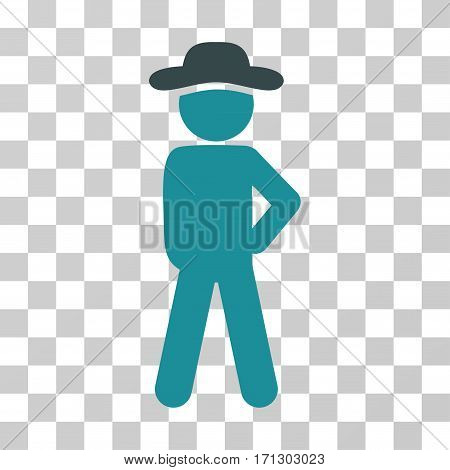 Gentleman Audacity icon. Vector illustration style is flat iconic bicolor symbol soft blue colors transparent background. Designed for web and software interfaces.