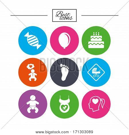 Pregnancy, maternity and baby care icons. Candy, strollers and pacifier signs. Footprint, birthday cake and heart symbols. Classic simple flat icons. Vector