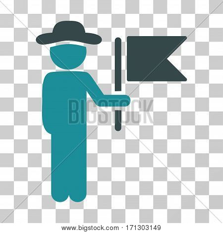 Gentleman Commander icon. Vector illustration style is flat iconic bicolor symbol soft blue colors transparent background. Designed for web and software interfaces.
