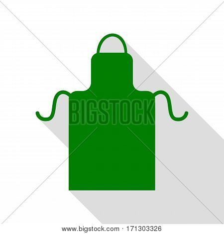Apron simple sign. Green icon with flat style shadow path.