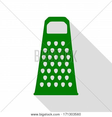 Cheese grater sign. Green icon with flat style shadow path.
