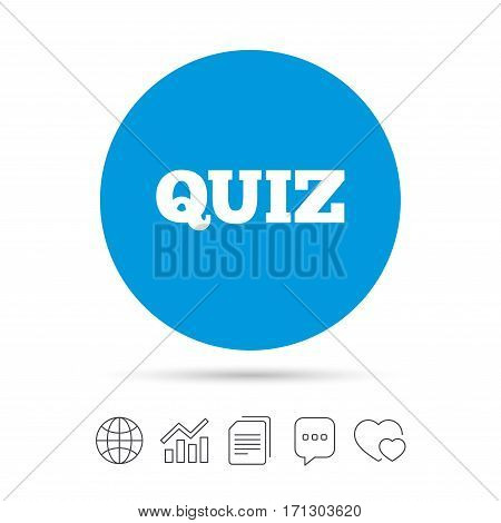 Quiz sign icon. Questions and answers game symbol. Copy files, chat speech bubble and chart web icons. Vector