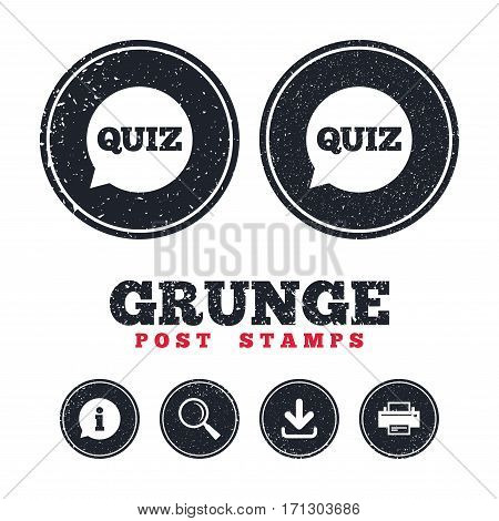 Grunge post stamps. Quiz speech bubble sign icon. Questions and answers game symbol. Information, download and printer signs. Aged texture web buttons. Vector