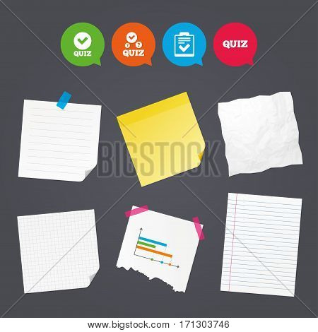 Business paper banners with notes. Quiz icons. Checklist with check mark symbol. Survey poll or questionnaire feedback form sign. Sticky colorful tape. Speech bubbles with icons. Vector